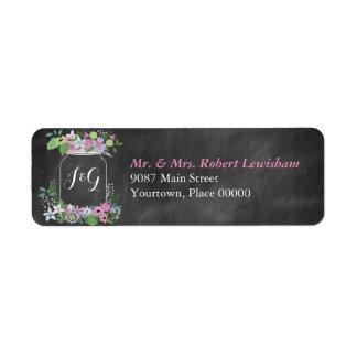 Etiqueta Casamento floral do rosa do frasco de pedreiro do