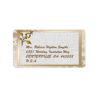Etiqueta Casamento floral e de linho do ouro cor-de-rosa