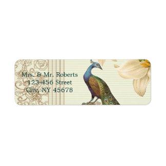 Etiqueta casamento floral elegante do pavão do lírio branco