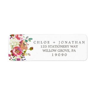 Etiqueta Casamento floral simples do buquê da aguarela