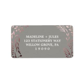 Etiqueta Casamento frondoso cor-de-rosa elegante do quadro