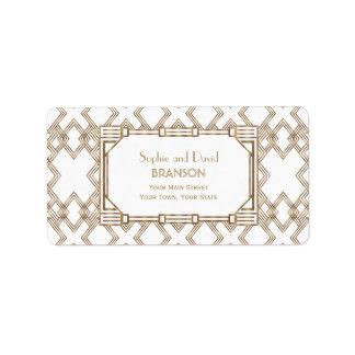 Etiqueta Casamento Glam de Gatsby do ouro branco grande
