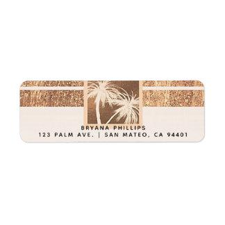 Etiqueta Casamento moderno das palmeiras tropicais do cobre