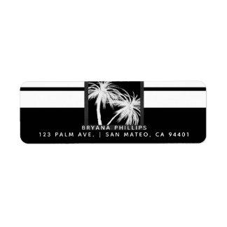 Etiqueta Casamento moderno das palmeiras tropicais pretas &