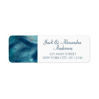 Etiqueta Casamento orgânico da aguarela do azul de oceano