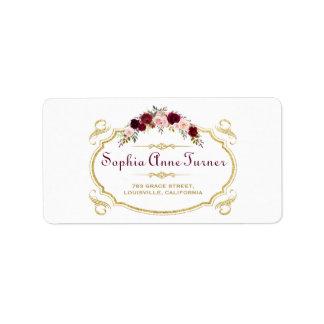 Etiqueta Casamento outono floral elegante de Borgonha