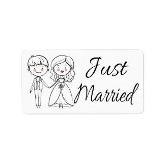 Etiqueta Casamento preto & branco da noiva & do noivo do