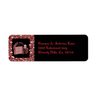 Etiqueta Casamento romance vermelho de Spellbook do crânio