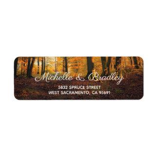 Etiqueta Casamento rústico da floresta da queda do outono