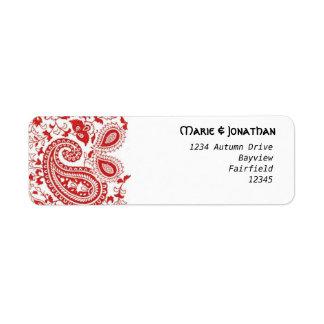Etiqueta Casamento vermelho e branco de paisley