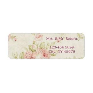 Etiqueta casamento vintage floral do rosa elegante do rosa