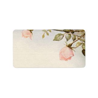 Etiqueta Casamento vintage, flores cor-de-rosa do jardim de