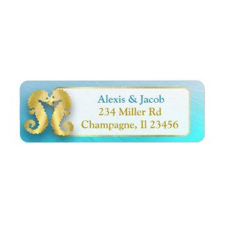 Etiqueta Cavalos marinhos do azul e do ouro do Aqua que