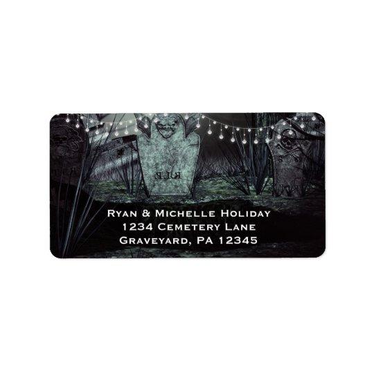 Etiqueta Cemitério gótico com endereço Enchanting das luzes