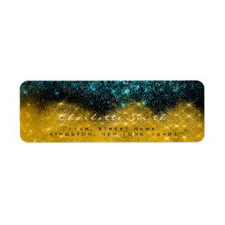 Etiqueta Cerceta Sparkly RSVP do preto dos confetes do