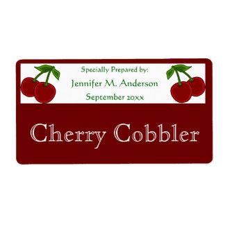 Etiqueta Cerejas gêmeas quadro na comida caseiro vermelha