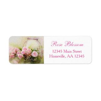Etiqueta Cesta do rosa do rosa