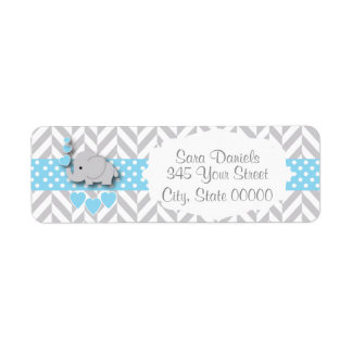 Etiqueta Chá de fraldas azul, branco e cinzento do elefante