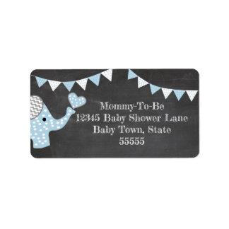 Etiqueta Chá de fraldas azul do elefante