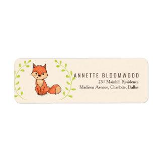 Etiqueta Chá de fraldas bonito da floresta do Fox