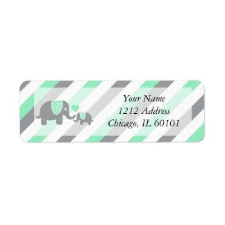 Etiqueta Chá de fraldas branco, verde & cinzento dos