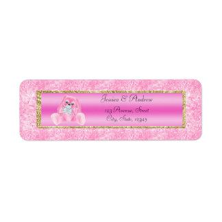 Etiqueta Chá de fraldas cor-de-rosa bonito do coelho