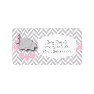 Etiqueta Chá de fraldas cor-de-rosa, branco e cinzento do