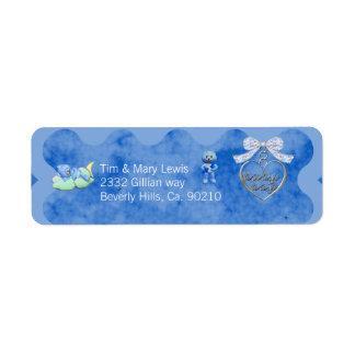 Etiqueta Chá de fraldas do azul do menino do encanto do