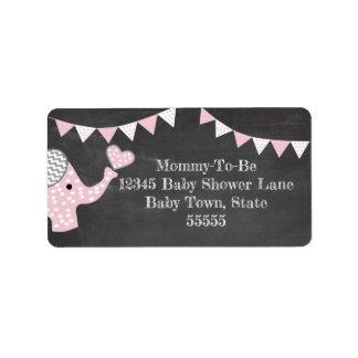 Etiqueta Chá de fraldas do elefante cor-de-rosa