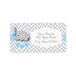 Etiqueta Chá de fraldas do elefante dos azuis bebés, do