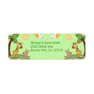 Etiqueta Chá de fraldas do impressão da chita dos animais