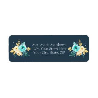Etiqueta Chá de fraldas floral do menino da cerceta azul
