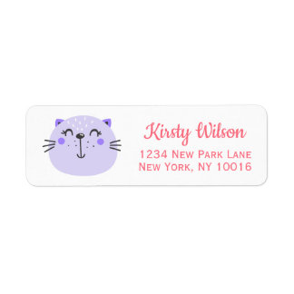 Etiqueta Chá de fraldas roxo bonito do gato  