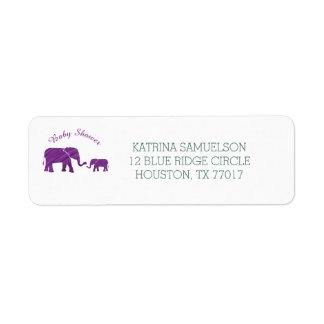 Etiqueta Chá de fraldas roxo dos elefantes
