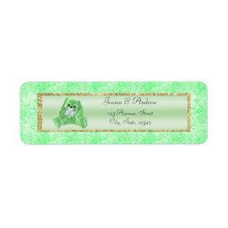 Etiqueta Chá de fraldas verde bonito do coelho