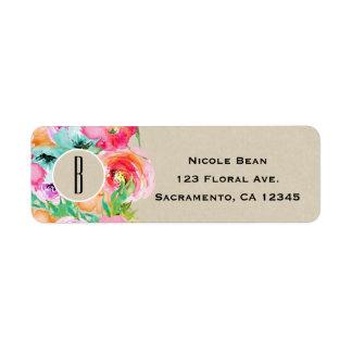 Etiqueta Chá de panela floral brilhante moderno de Brown