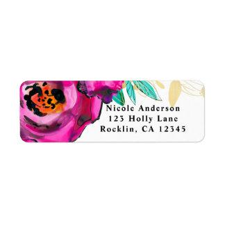 Etiqueta Chá de panela floral moderno cor-de-rosa corajoso