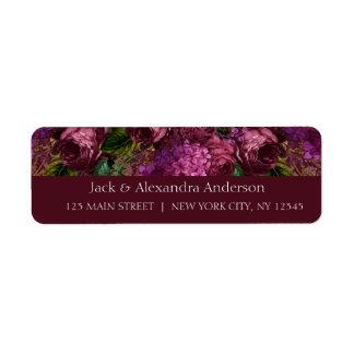 Etiqueta Chá de panela Marsala floral Borgonha