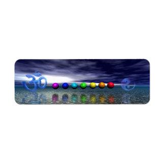 Etiqueta chakras e azul do aum