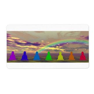 Etiqueta chakras e cores e amarelo do puple do céu