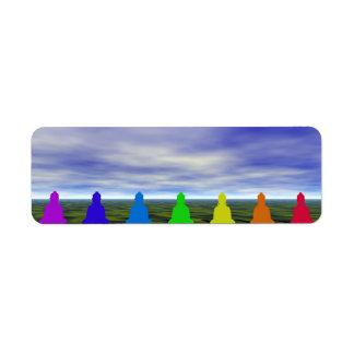 Etiqueta chakras e cores e céu