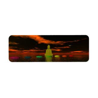 Etiqueta chakras e preto e laranja do céu
