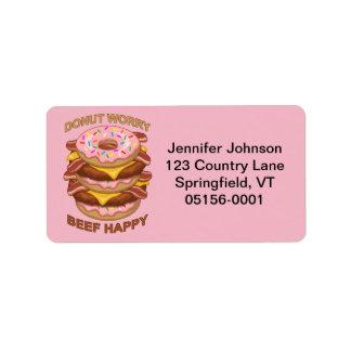 Etiqueta Cheeseburger feliz do bacon da carne engraçada da