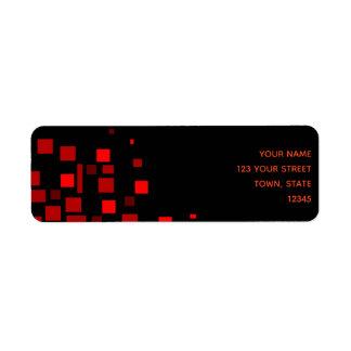 Etiqueta Chique à moda geométrico vermelho preto vibrante