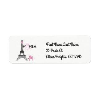 Etiqueta Chique cor-de-rosa da caniche de Paris France da