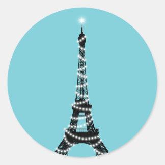 Etiqueta clara da torre Eiffel da cintilação -