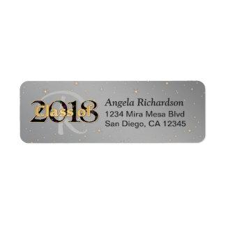 Etiqueta Classe da tipografia 2018 do ouro do monograma da