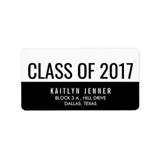 Etiqueta Classe moderna da tipografia 2017 preto e branco