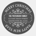 Etiqueta clássica do Feliz Natal do quadro Adesivo Redondo
