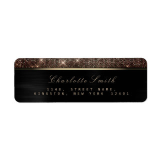 Etiqueta Cobre luxuoso RSVP do ouro preto Sparkly metálico